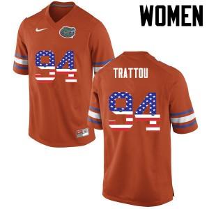 Women Florida Gators #94 Justin Trattou College Football USA Flag Fashion Orange 188008-224