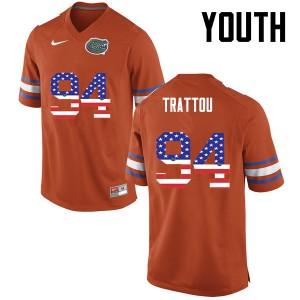 Youth Florida Gators #94 Justin Trattou College Football USA Flag Fashion Orange 917851-264
