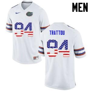 Men Florida Gators #94 Justin Trattou College Football USA Flag Fashion White 614306-814