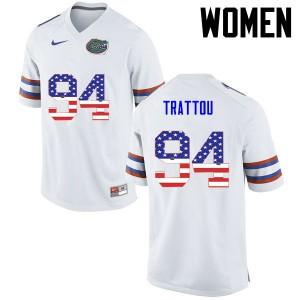 Women Florida Gators #94 Justin Trattou College Football USA Flag Fashion White 691321-980