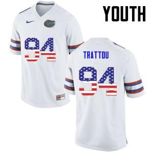 Youth Florida Gators #94 Justin Trattou College Football USA Flag Fashion White 171216-608