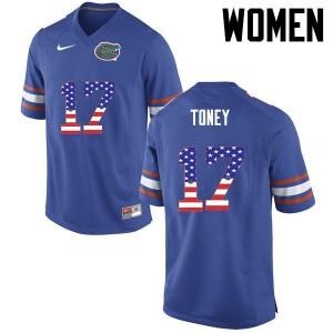 Women Florida Gators #17 Kadarius Toney College Football USA Flag Fashion Blue 168250-929