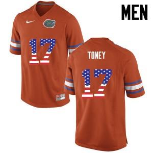 Men Florida Gators #17 Kadarius Toney College Football USA Flag Fashion Orange 376047-853