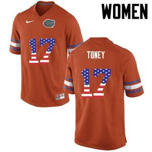Women Florida Gators #17 Kadarius Toney College Football USA Flag Fashion Orange 330908-703