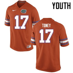 Youth Florida Gators #17 Kadarius Toney College Football Jerseys Orange 359629-968