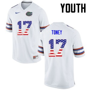 Youth Florida Gators #17 Kadarius Toney College Football USA Flag Fashion White 247374-861
