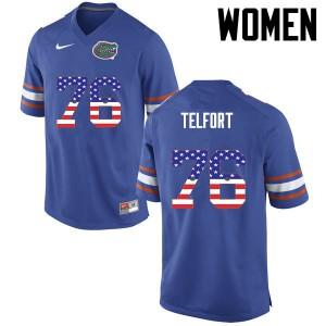 Women Florida Gators #76 Kadeem Telfort College Football USA Flag Fashion Blue 912124-353
