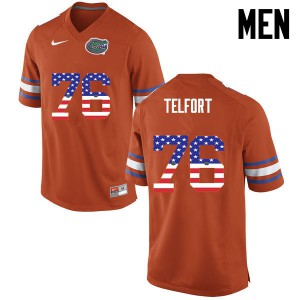 Men Florida Gators #76 Kadeem Telfort College Football USA Flag Fashion Orange 854399-516