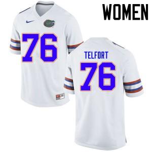Women Florida Gators #76 Kadeem Telfort College Football Jerseys White 843453-131