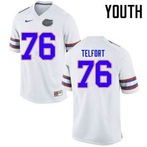 Youth Florida Gators #76 Kadeem Telfort College Football Jerseys White 422243-925