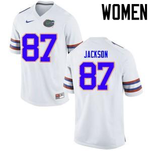 Women Florida Gators #87 Kalif Jackson College Football Jerseys White 215735-755