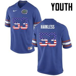 Youth Florida Gators #53 Kavaris Harkless College Football USA Flag Fashion Blue 761093-207