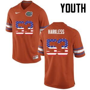 Youth Florida Gators #53 Kavaris Harkless College Football USA Flag Fashion Orange 201963-515