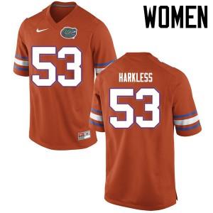 Women Florida Gators #53 Kavaris Harkless College Football Jerseys Orange 362126-147