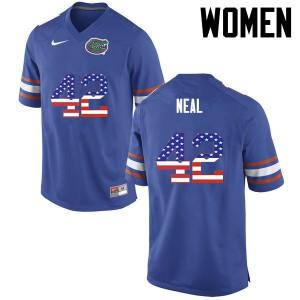 Women Florida Gators #42 Keanu Neal College Football USA Flag Fashion Blue 560758-774