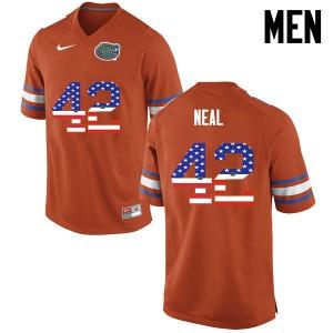 Men Florida Gators #42 Keanu Neal College Football USA Flag Fashion Orange 655621-677