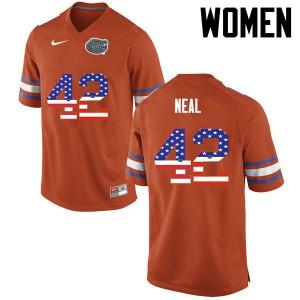 Women Florida Gators #42 Keanu Neal College Football USA Flag Fashion Orange 118694-134