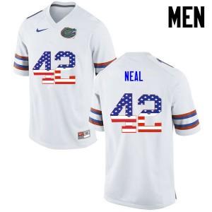 Men Florida Gators #42 Keanu Neal College Football USA Flag Fashion White 566333-361