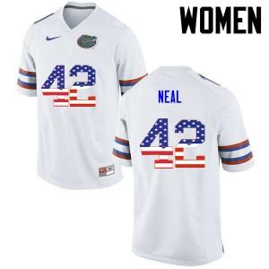 Women Florida Gators #42 Keanu Neal College Football USA Flag Fashion White 880441-441