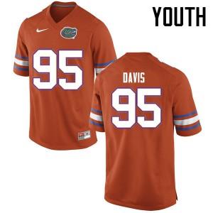 Youth Florida Gators #95 Keivonnis Davis College Football Jerseys Orange 688397-304