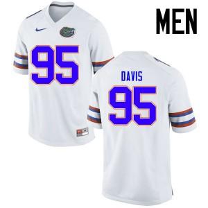 Men Florida Gators #95 Keivonnis Davis College Football Jerseys White 174642-935