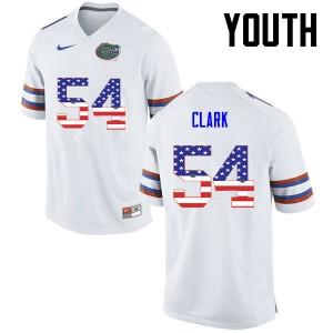 Youth Florida Gators #54 Khairi Clark College Football USA Flag Fashion White 446100-182