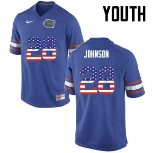 Youth Florida Gators #28 Kylan Johnson College Football USA Flag Fashion Blue 948166-395