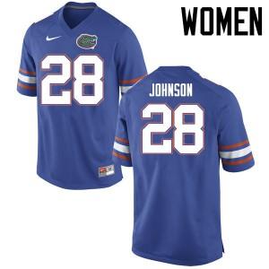 Women Florida Gators #28 Kylan Johnson College Football Jerseys Blue 823784-775