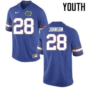 Youth Florida Gators #28 Kylan Johnson College Football Jerseys Blue 643324-826