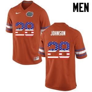 Men Florida Gators #28 Kylan Johnson College Football USA Flag Fashion Orange 373924-954