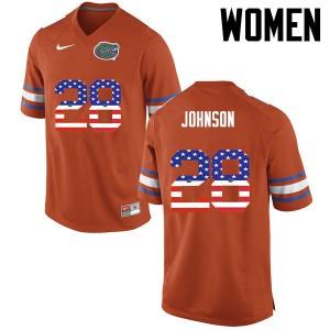 Women Florida Gators #28 Kylan Johnson College Football USA Flag Fashion Orange 705820-112