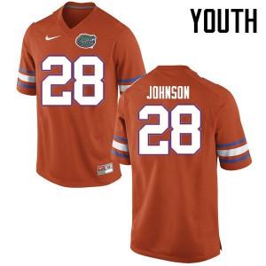 Youth Florida Gators #28 Kylan Johnson College Football Jerseys Orange 766353-244