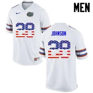 Men Florida Gators #28 Kylan Johnson College Football USA Flag Fashion White 513457-443