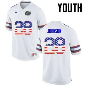Youth Florida Gators #28 Kylan Johnson College Football USA Flag Fashion White 294836-564