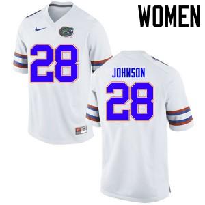 Women Florida Gators #28 Kylan Johnson College Football Jerseys White 424992-639