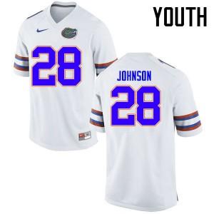 Youth Florida Gators #28 Kylan Johnson College Football Jerseys White 359183-529