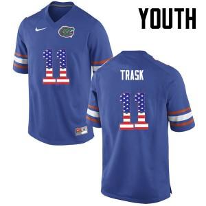Youth Florida Gators #11 Kyle Trask College Football USA Flag Fashion Blue 621435-397