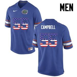 Men Florida Gators #55 Kyree Campbell College Football USA Flag Fashion Blue 240050-855