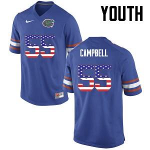 Youth Florida Gators #55 Kyree Campbell College Football USA Flag Fashion Blue 452455-775