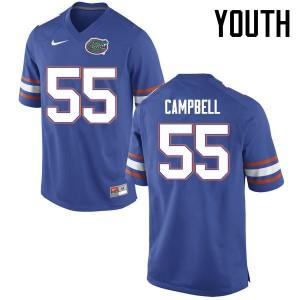 Youth Florida Gators #55 Kyree Campbell College Football Jerseys Blue 225185-724