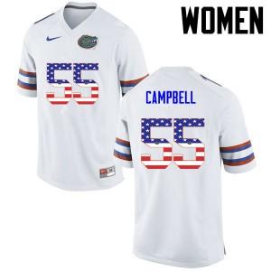Women Florida Gators #55 Kyree Campbell College Football USA Flag Fashion White 945612-191