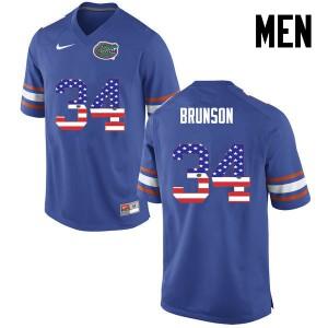 Men Florida Gators #34 Lacedrick Brunson College Football USA Flag Fashion Blue 163792-856