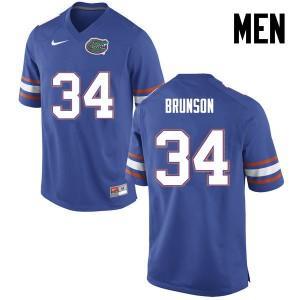 Men Florida Gators #34 Lacedrick Brunson College Football Blue 492088-365