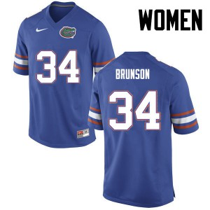 Women Florida Gators #34 Lacedrick Brunson College Football Blue 639619-561