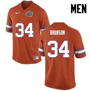 Men Florida Gators #34 Lacedrick Brunson College Football Orange 916478-640