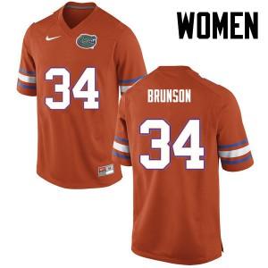Women Florida Gators #34 Lacedrick Brunson College Football Orange 186897-549