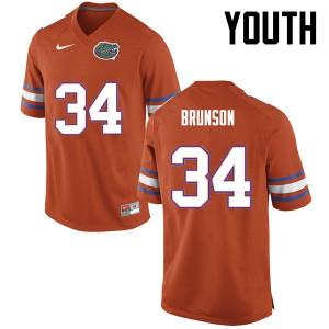 Youth Florida Gators #34 Lacedrick Brunson College Football Orange 432382-117