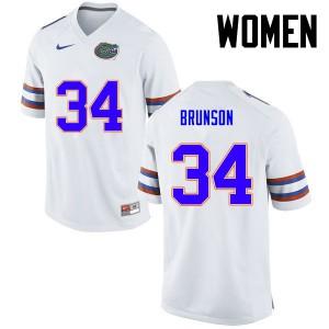 Women Florida Gators #34 Lacedrick Brunson College Football White 179914-145