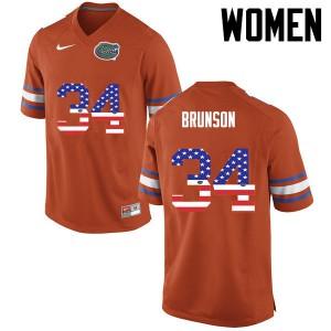 Women Florida Gators #34 Lacedrick Brunson College Football USA Flag Fashion Orange 644218-405