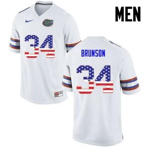 Men Florida Gators #34 Lacedrick Brunson College Football USA Flag Fashion White 578084-754